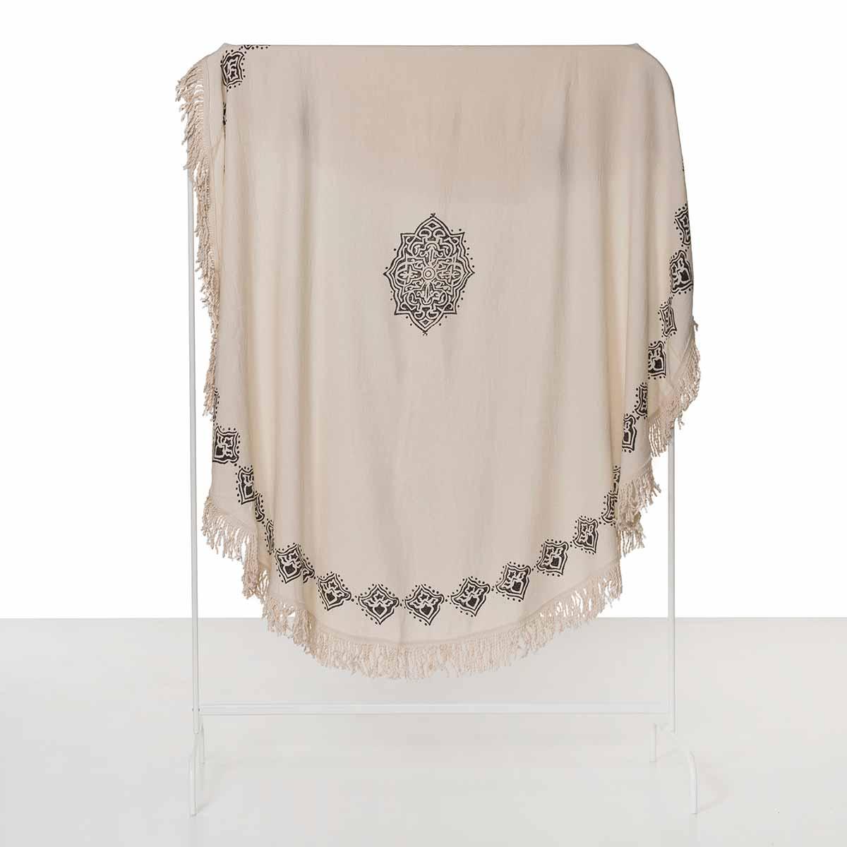 Round Towel / Cloth - Natural / Hand Printed 02 - Black