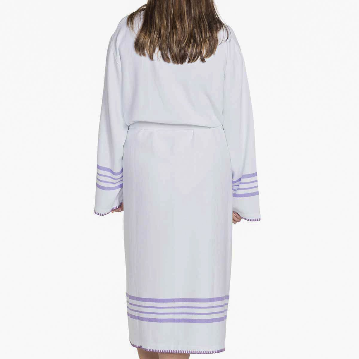 Bathrobe White Sultan - Dark Lilac Stripes
