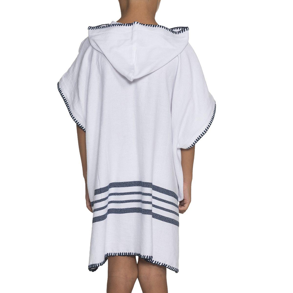 Poncho Kiddo / White Sultan - Navy Stripes