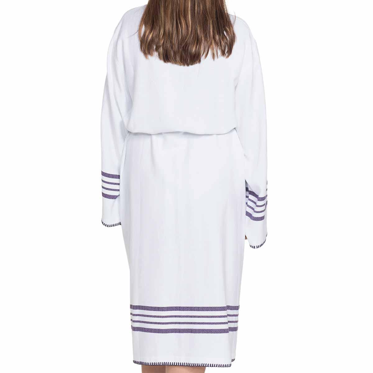 Bathrobe White Sultan - Purple Stripes
