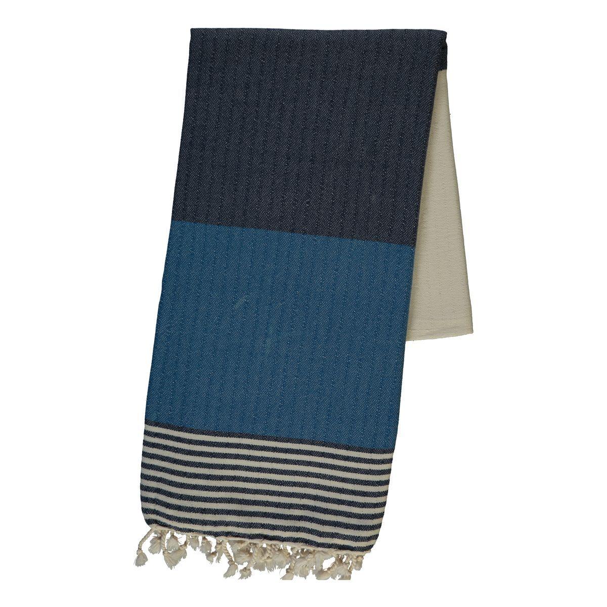 Peshtemal Twin Sultan - Black / Petrol Blue