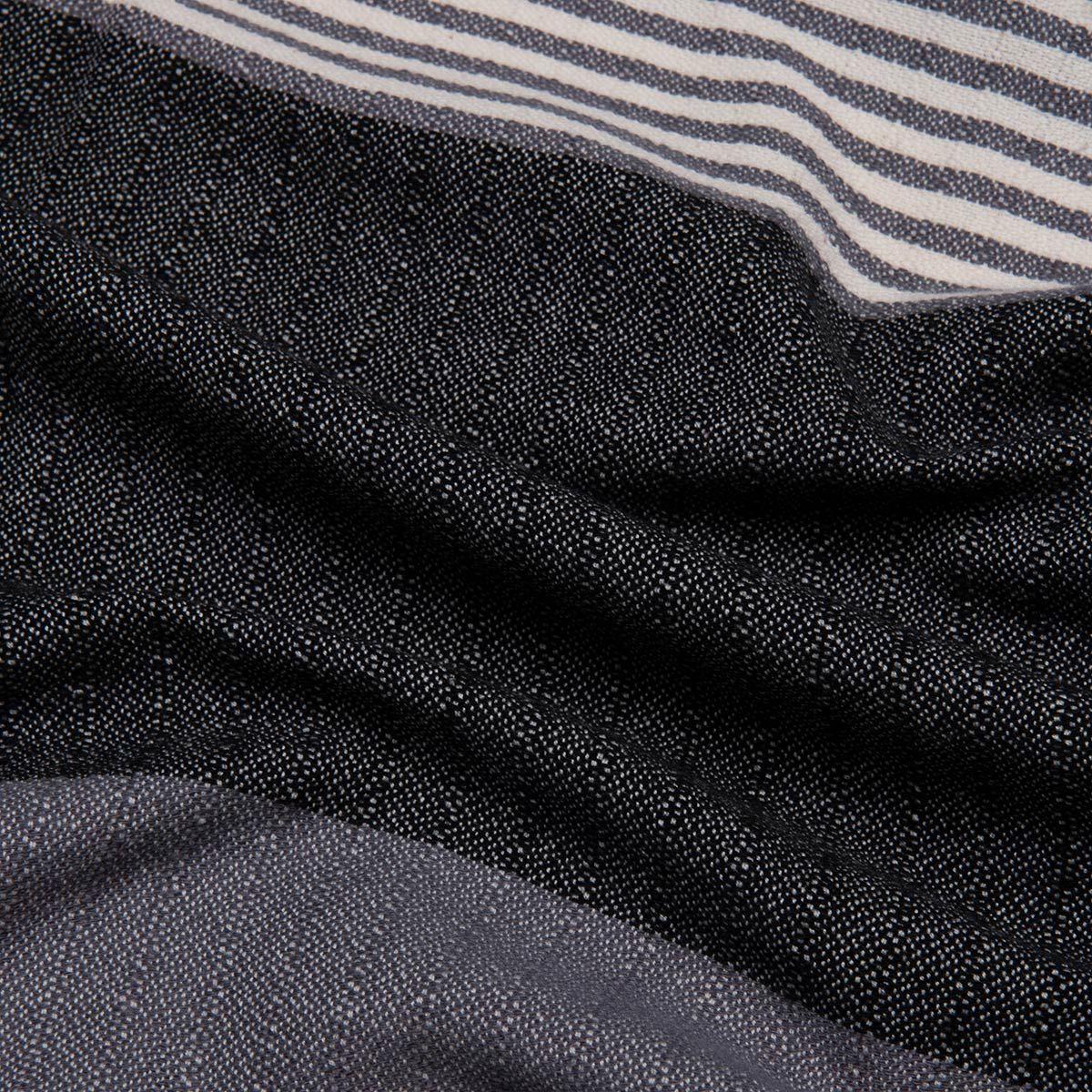 Peshtemal Twin Sultan - Dark Grey / Black