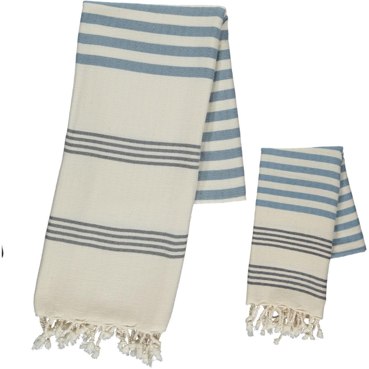 Peshtemal / Towel - Sultan FUN - Dark Grey / Air Blue