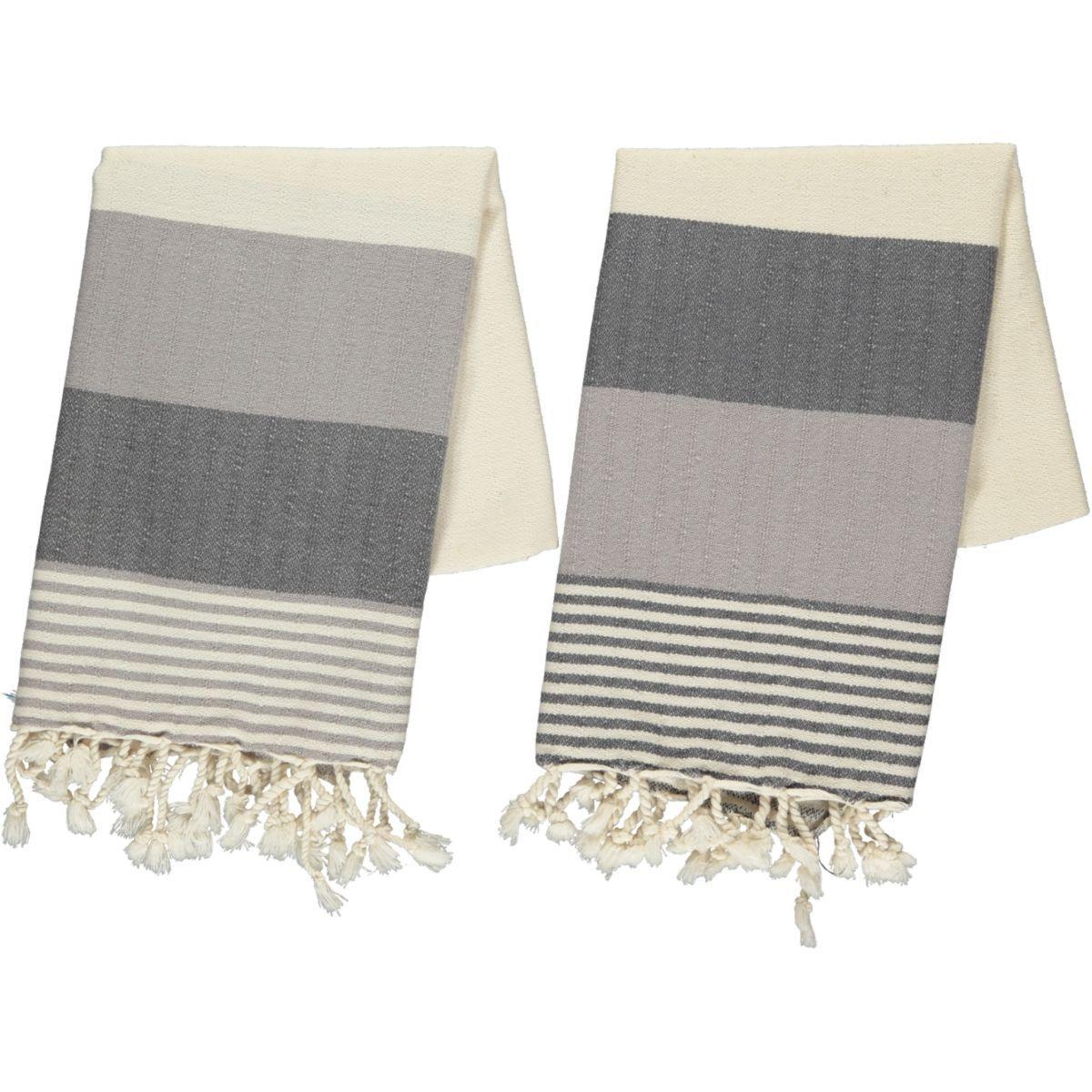Peshkir Twin Sultan - Dark Grey / Light Grey