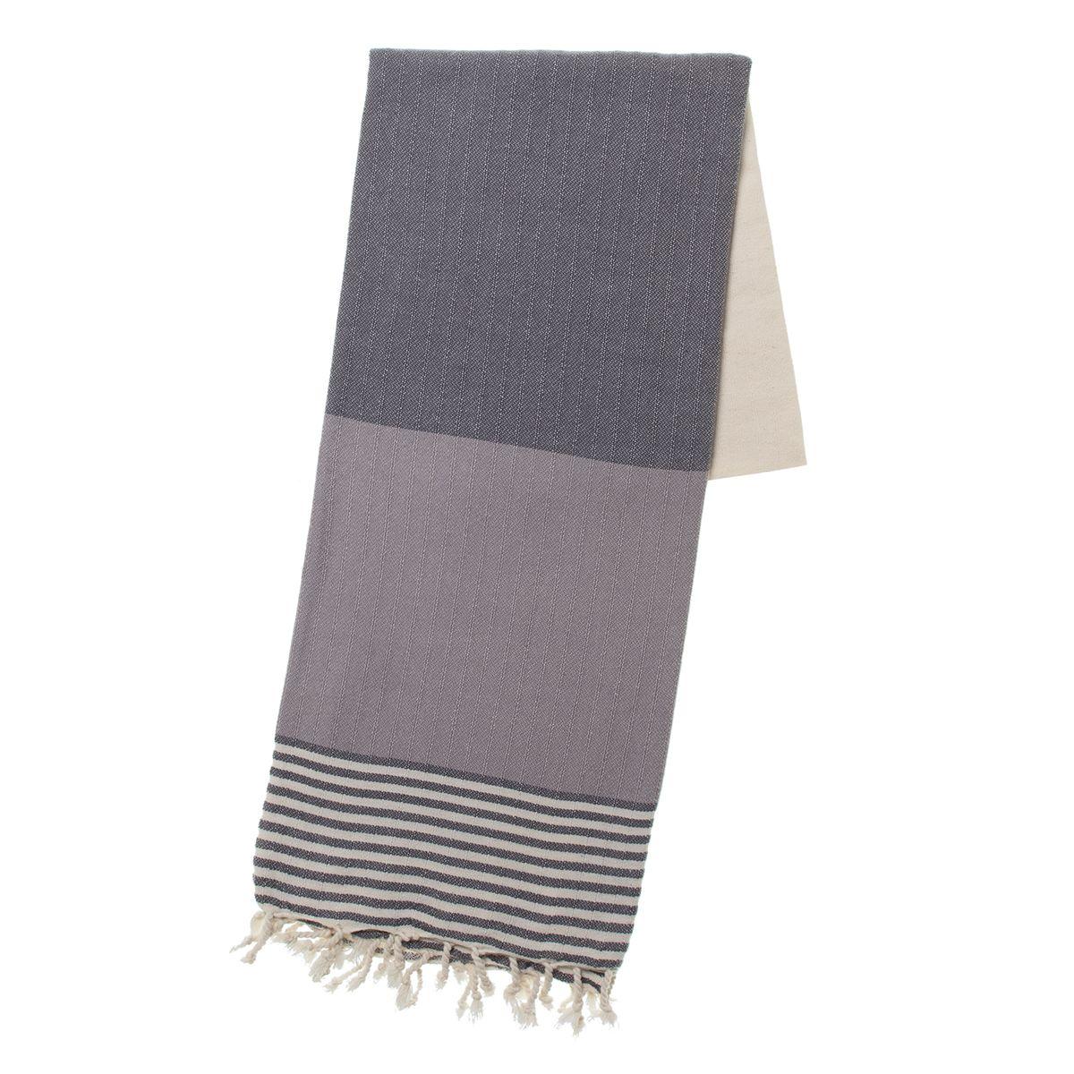 Peshtemal Twin Sultan - Dark Grey / Light Grey