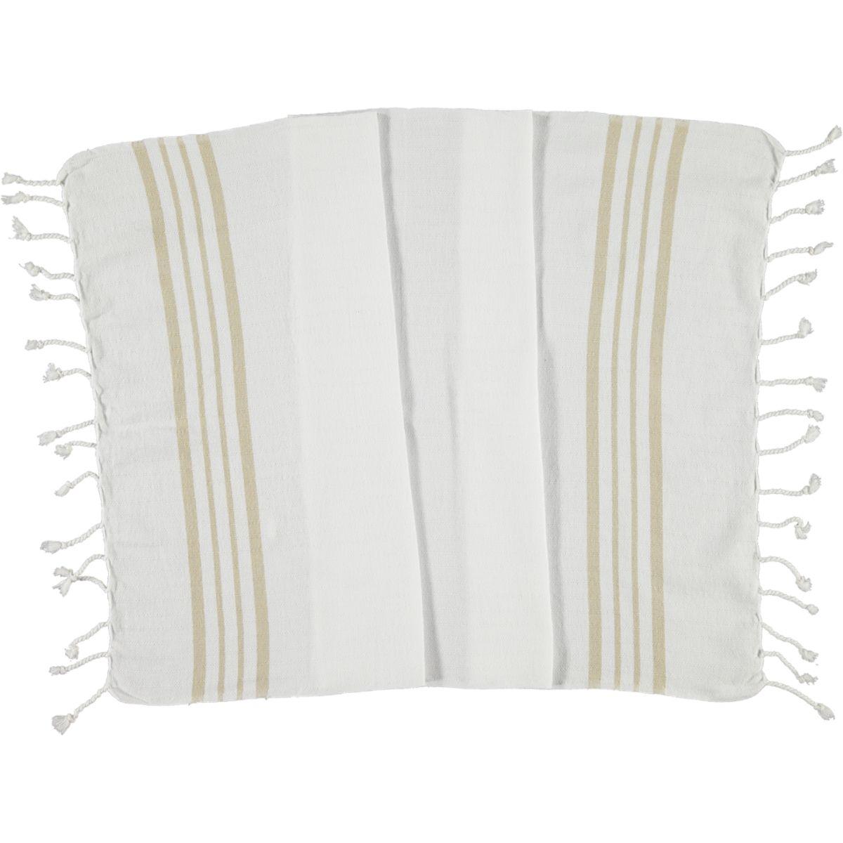 Peshkir - White Sultan / Beige Stripes
