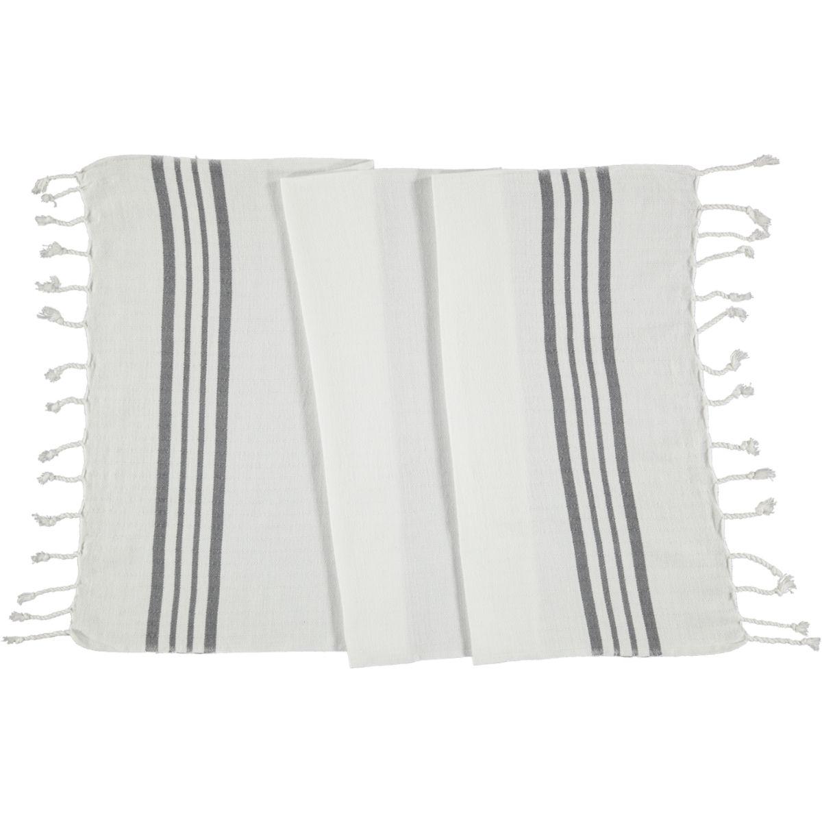 Peshkir - White Sultan / Dark Grey Stripes