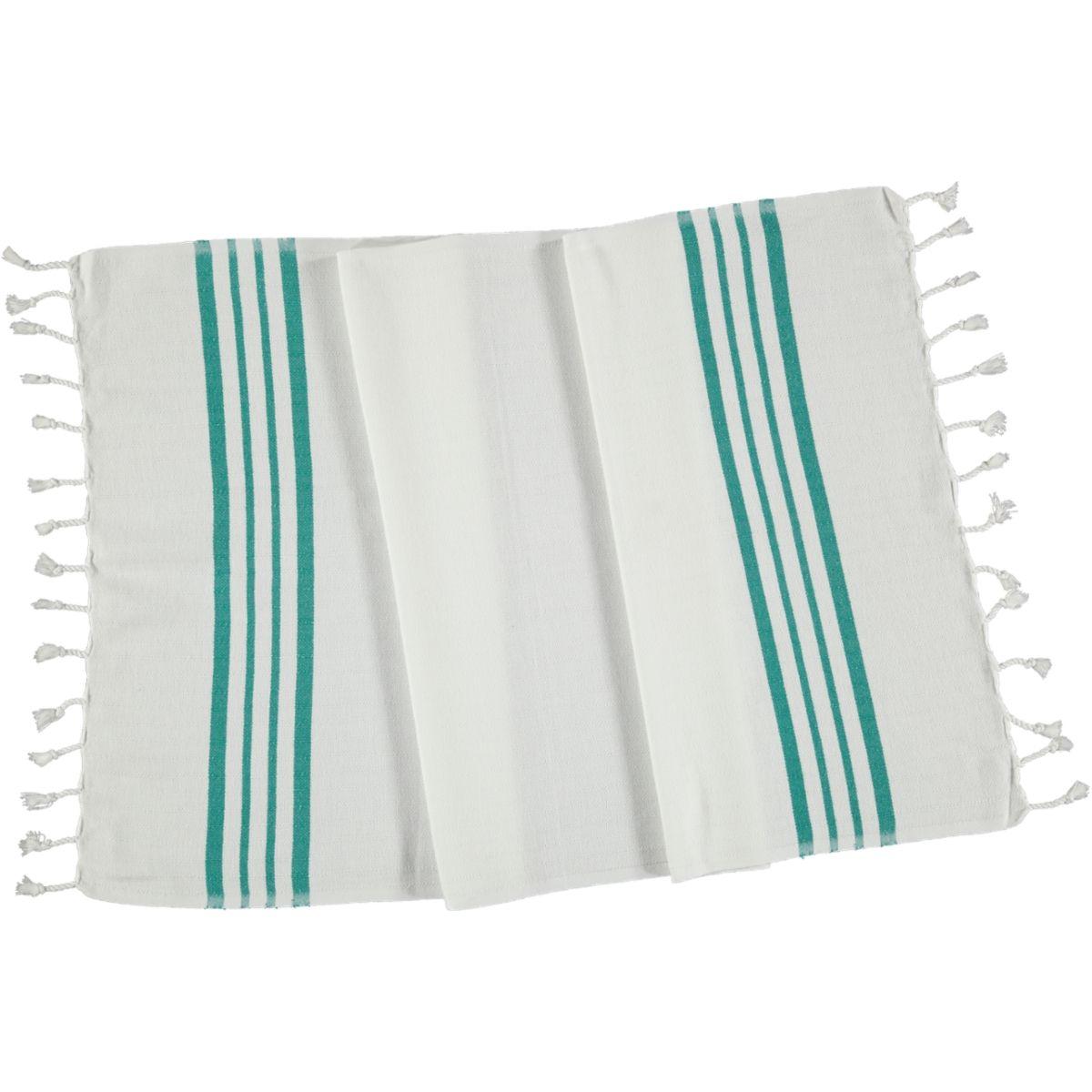 Peshkir - White Sultan / Fanfare Green Stripes