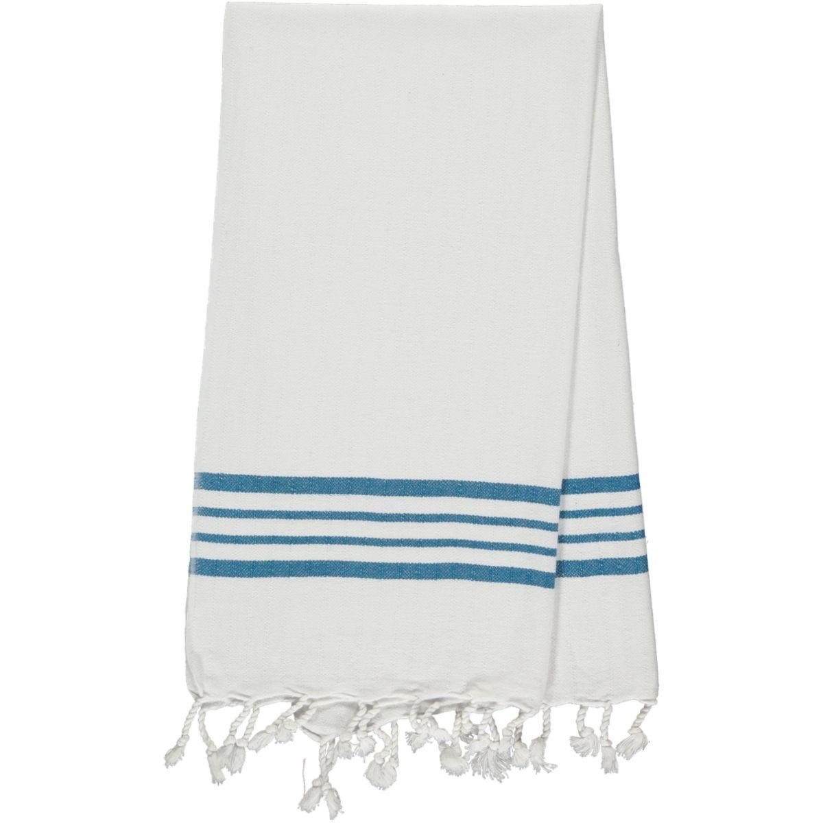 Peshkir - White Sultan / Petrol Blue Stripes