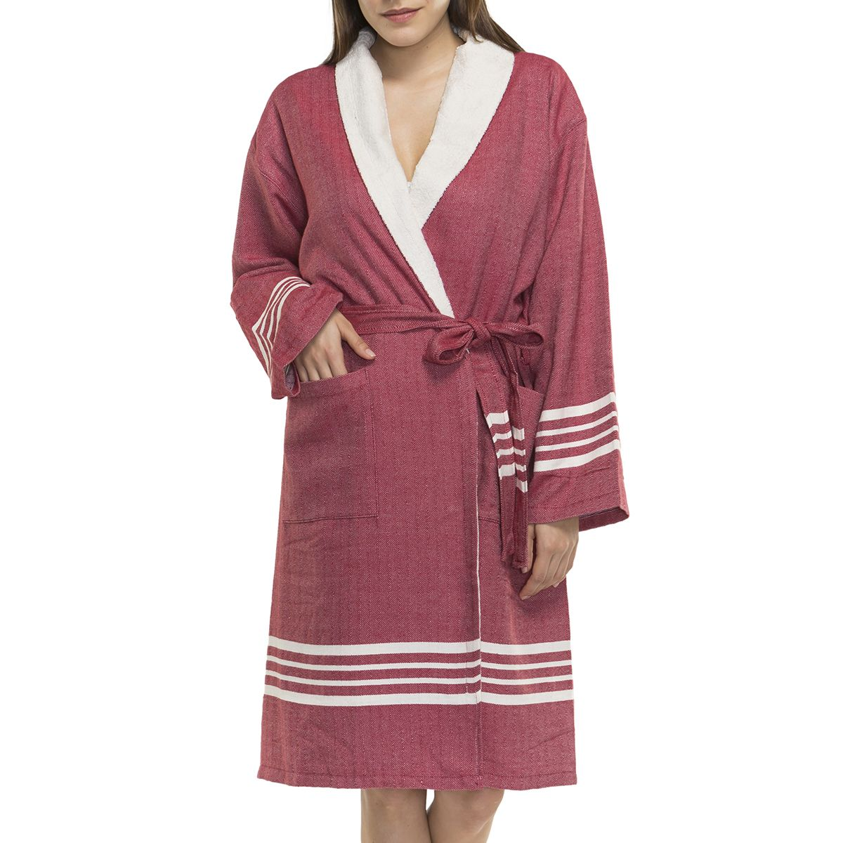 Bathrobe Sultan with terry - Bordeaux