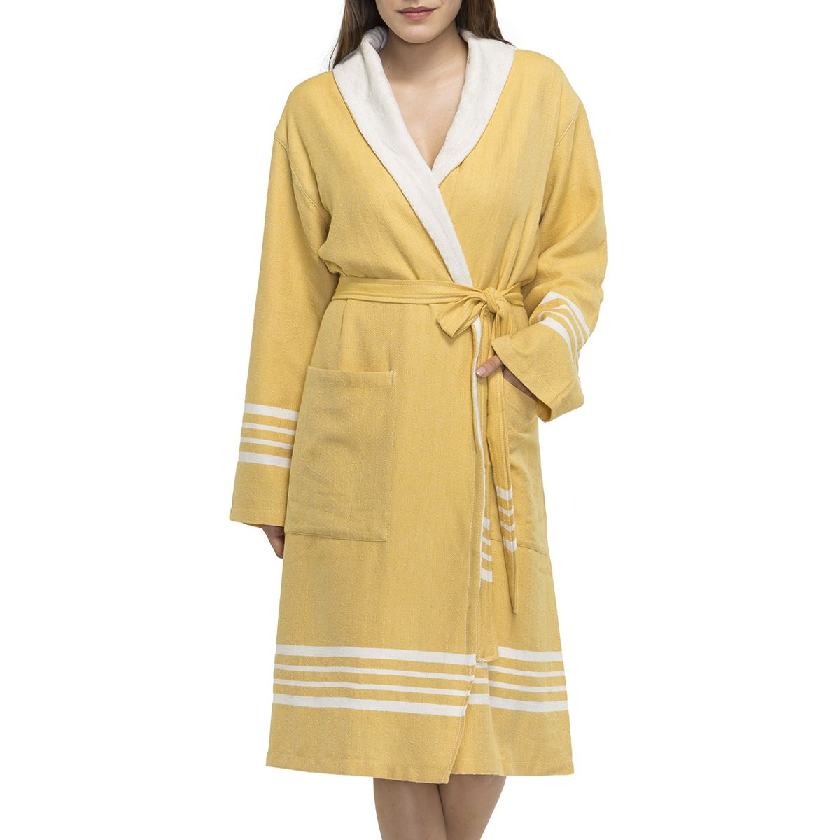 Bathrobe Sultan with towel - Yellow