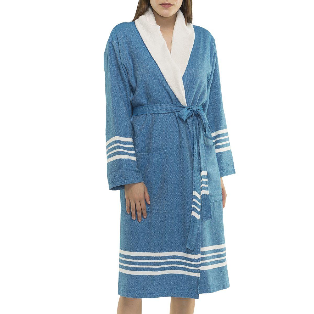 Bathrobe Sultan with towel - Petrol Blue