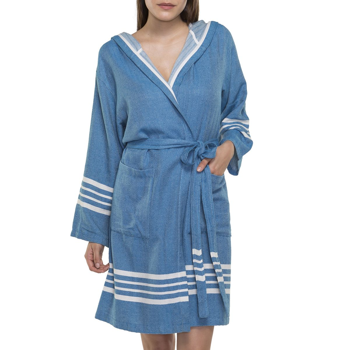 Bathrobe Sultan with hood - Petrol Blue