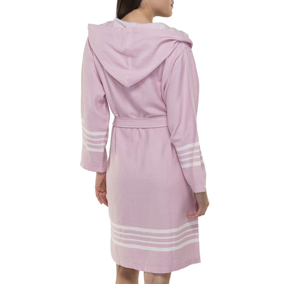 Bathrobe Sultan with hood - Rose Pink