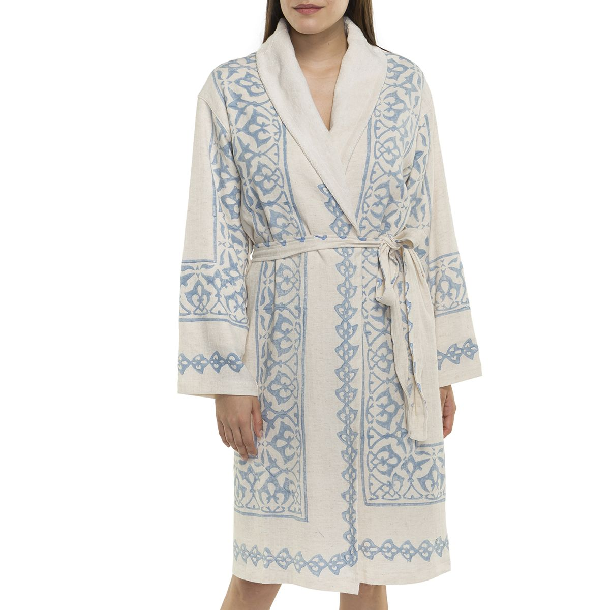 Bathrobe Hand Printed with towel lining 03 - Blue Print