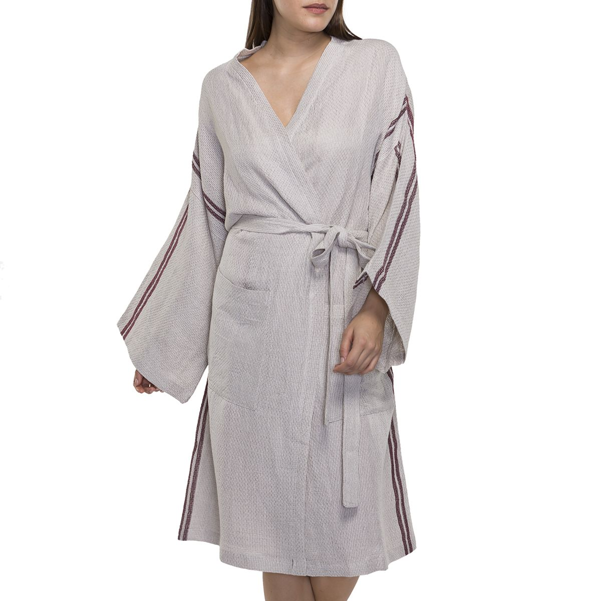 Bathrobe - Dressing Gown Honeycombed - Grey / Bordeaux Stripes