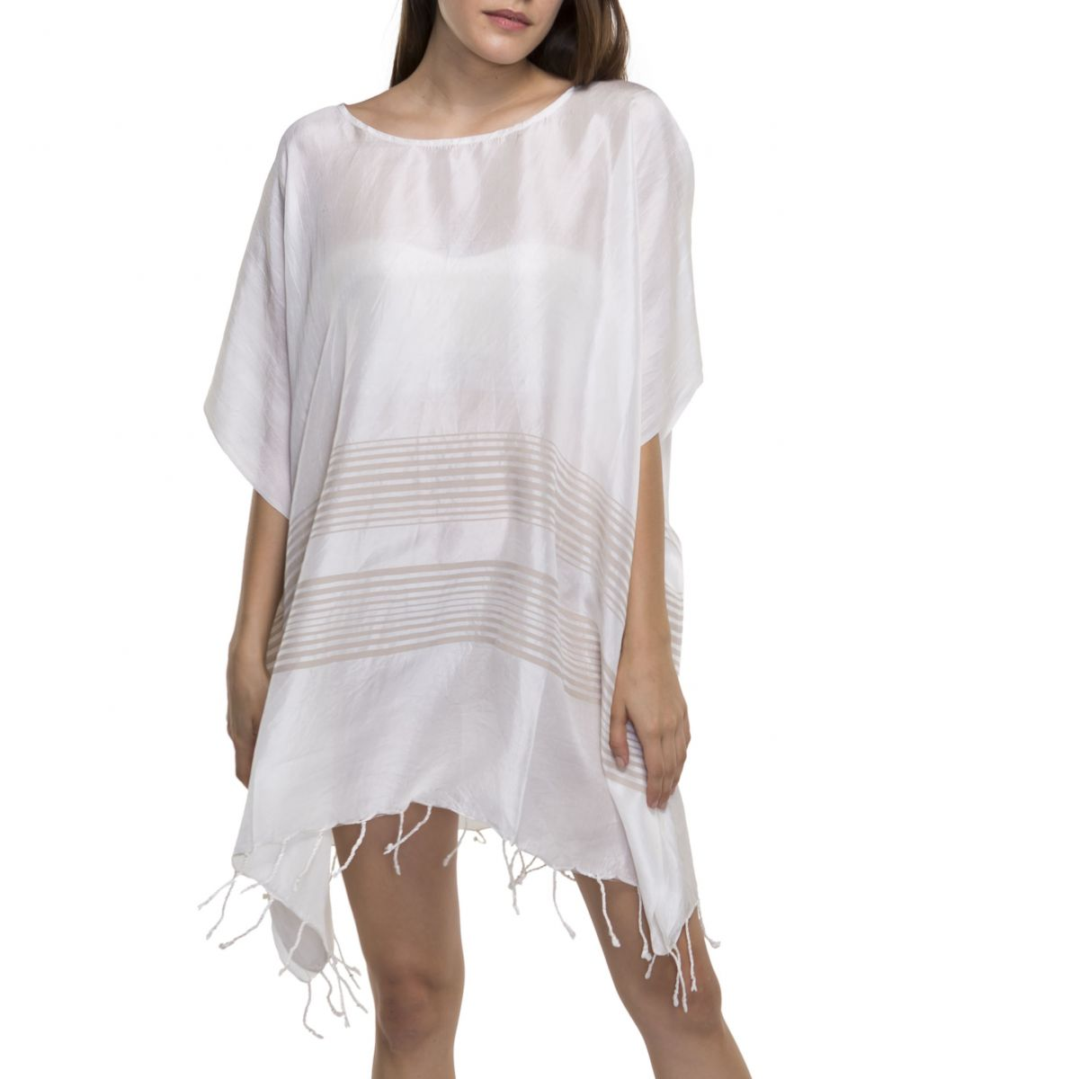 Tunic / Dress Silk - Taupe Stripes