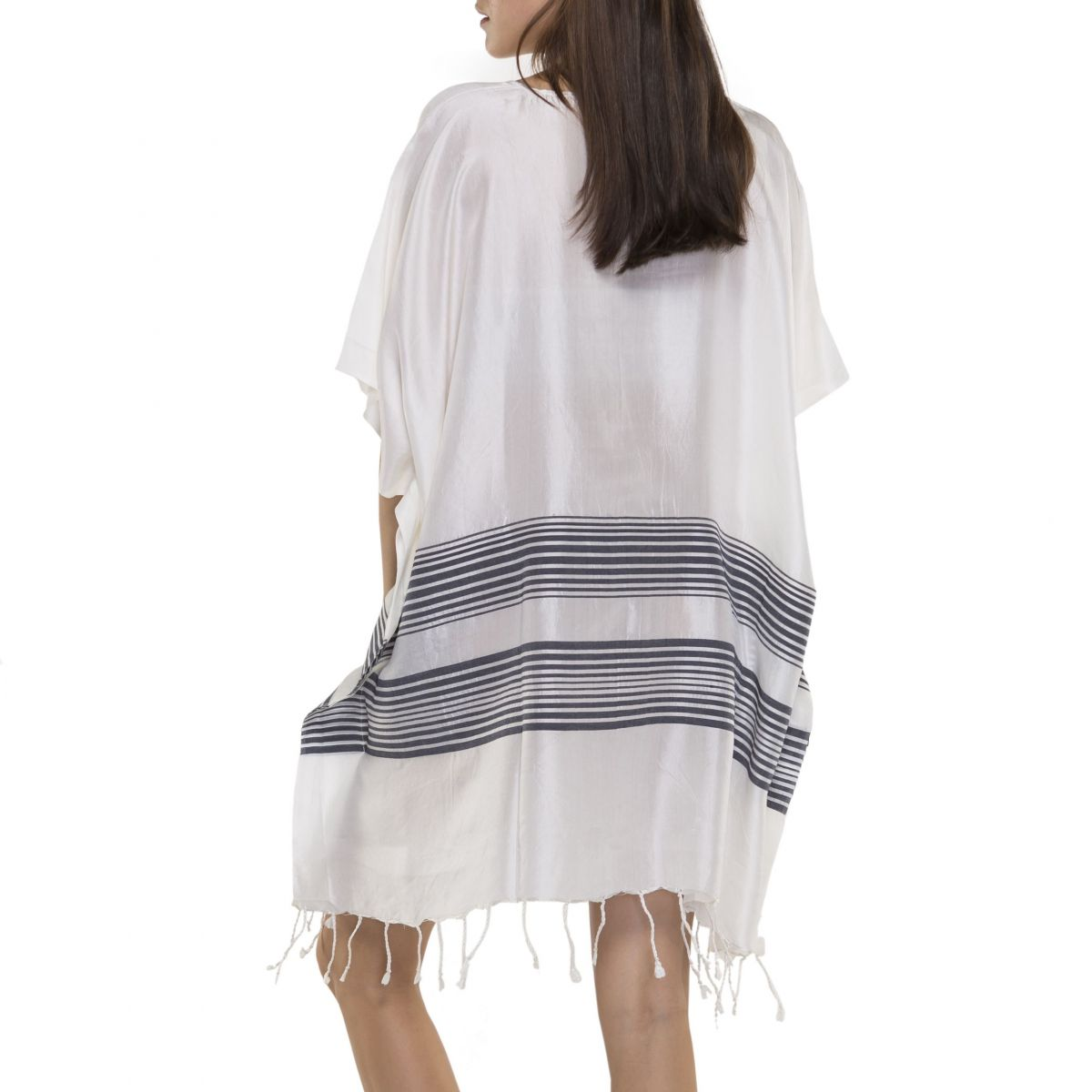 Tunic / Dress Silk - Navy Stripes