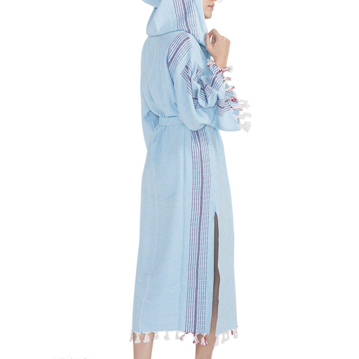 Bathrobe Gocek with hood / Turquoise