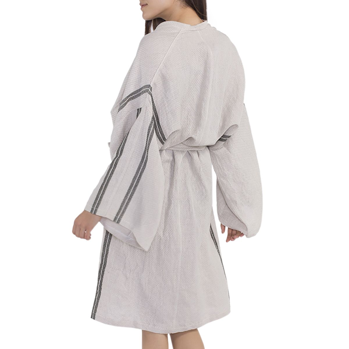 Bathrobe Dressing Gown Honeycombed - Grey / Khaki Stripes
