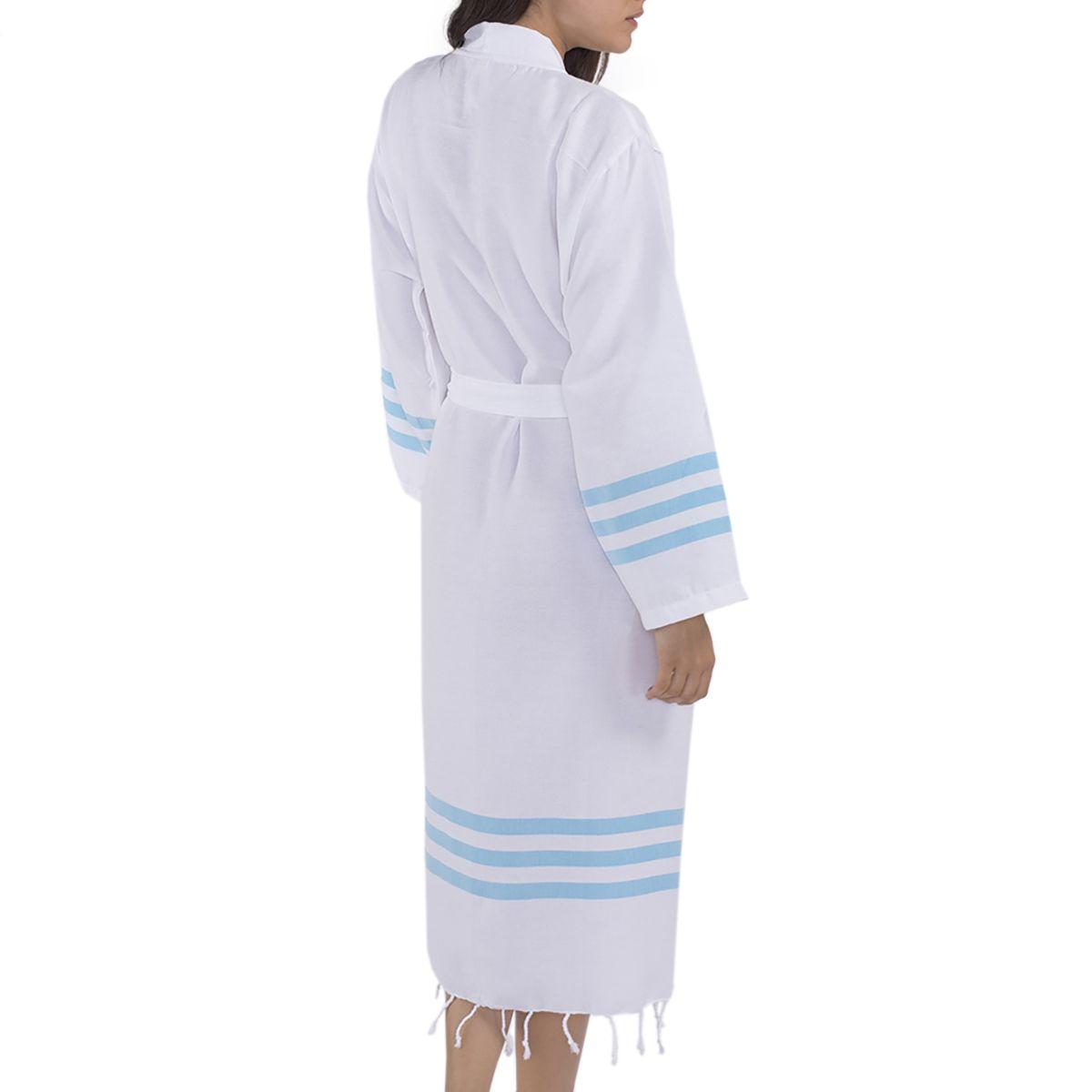Bathrobe Bala Sultan kimono - Turquoise Stripes