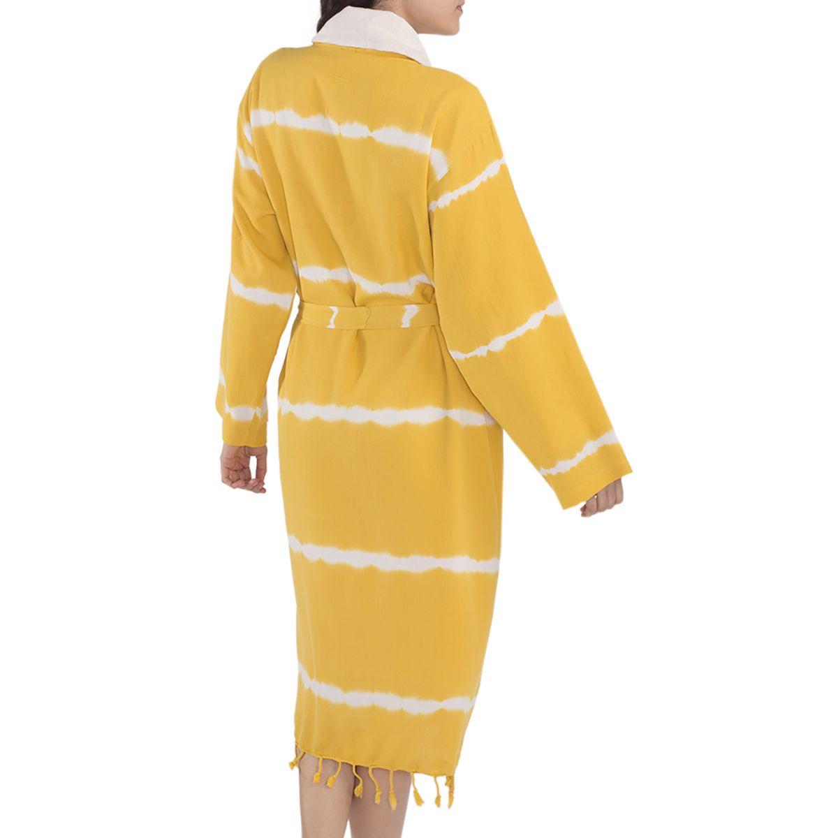 Bornoz Batik Havlulu - Sarı