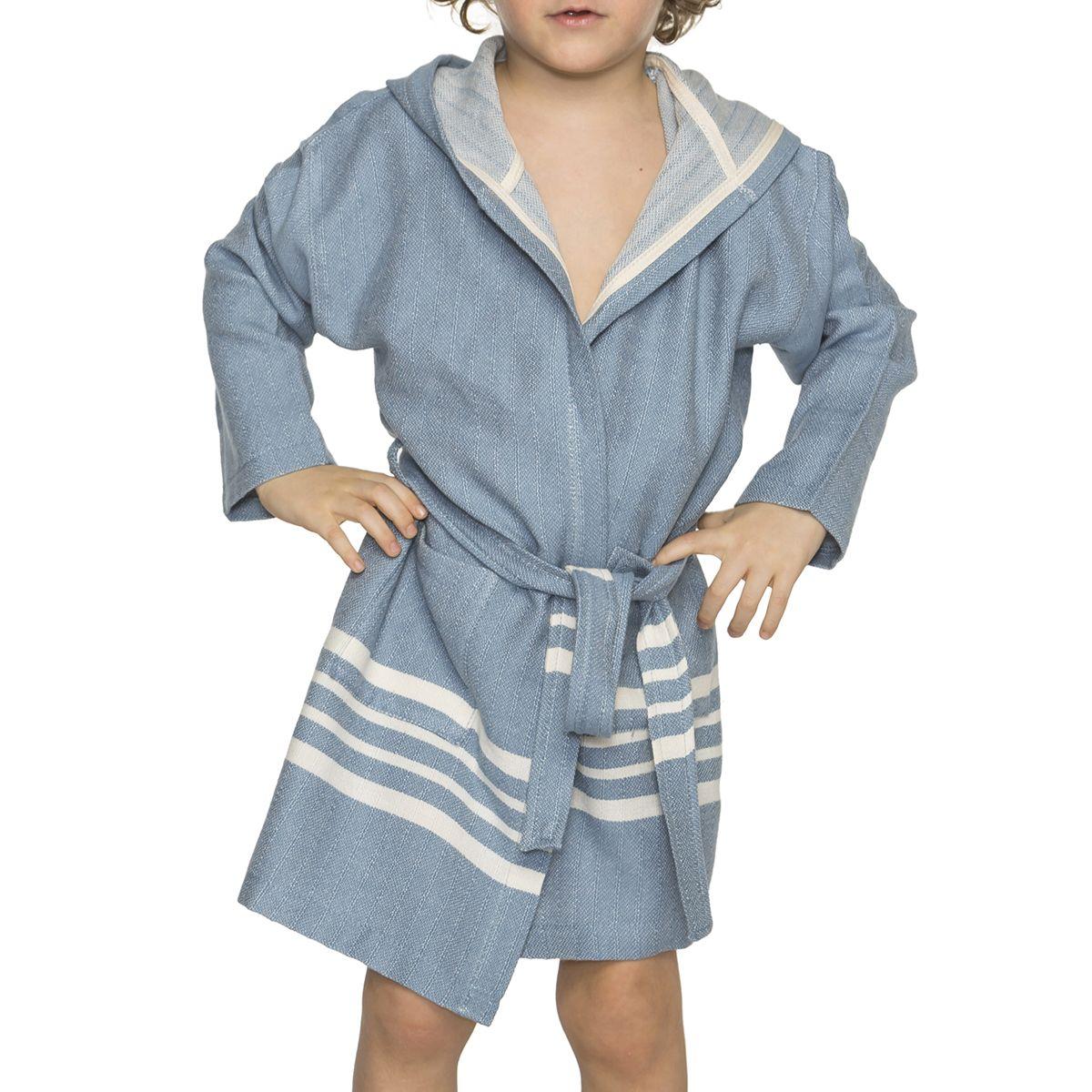 Bathrobe Kiddo with hood  - Air Blue