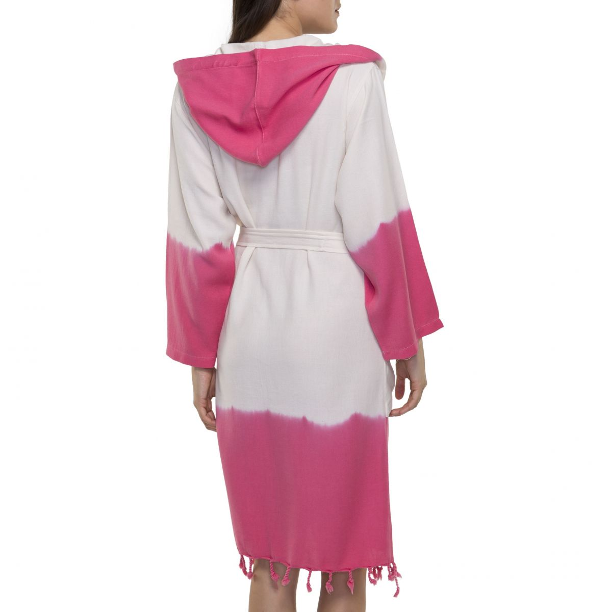 Bathrobe Tie Dye with Hood - Fuchsia