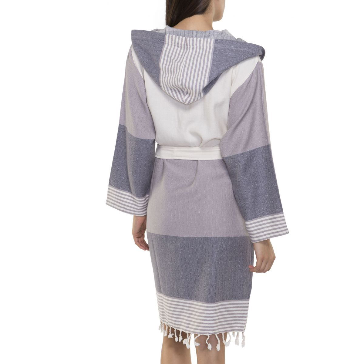 Bathrobe Twin Sultan with hood - Light Grey - Dark Grey