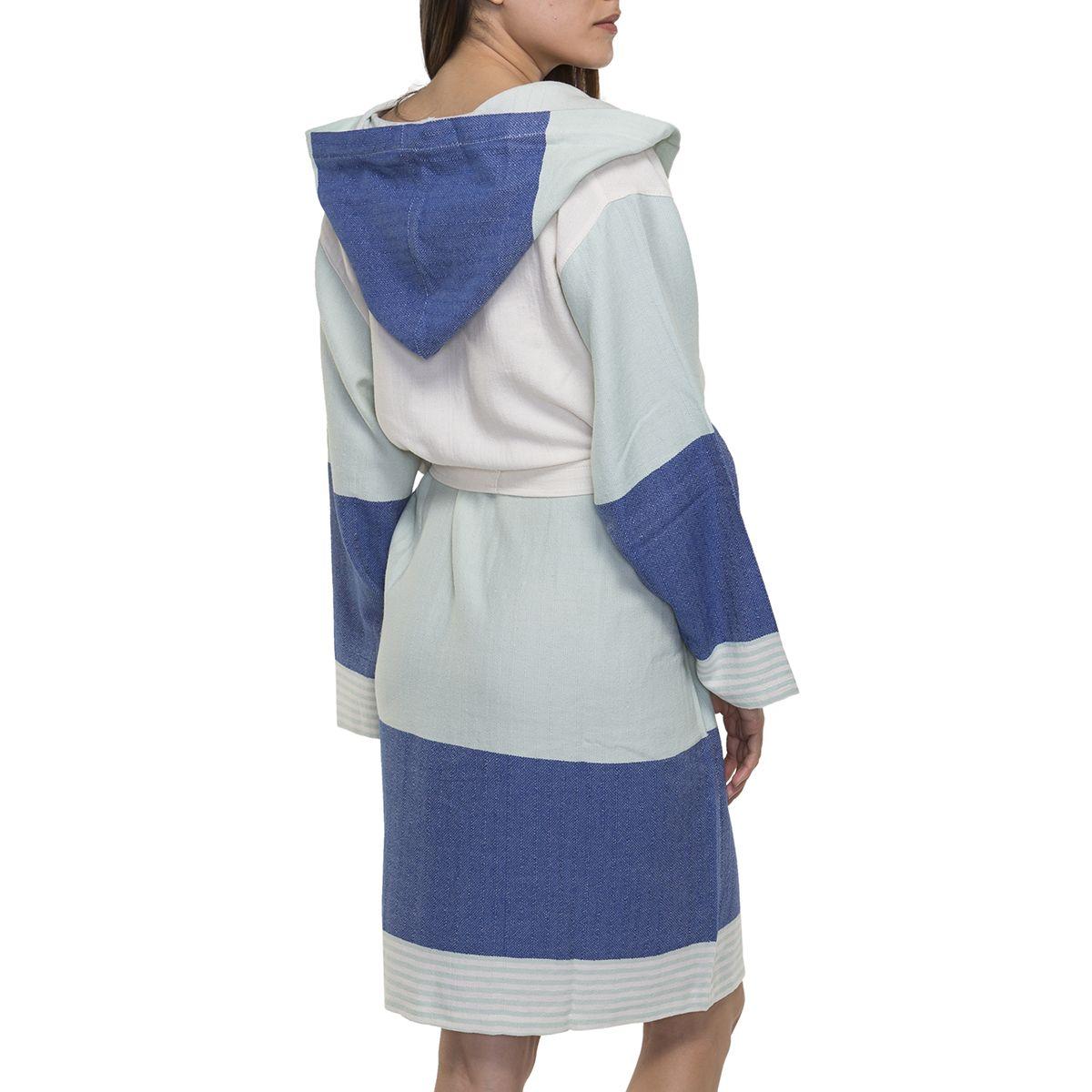 Bornoz İkiz Sultan - Mint / Royal Mavi