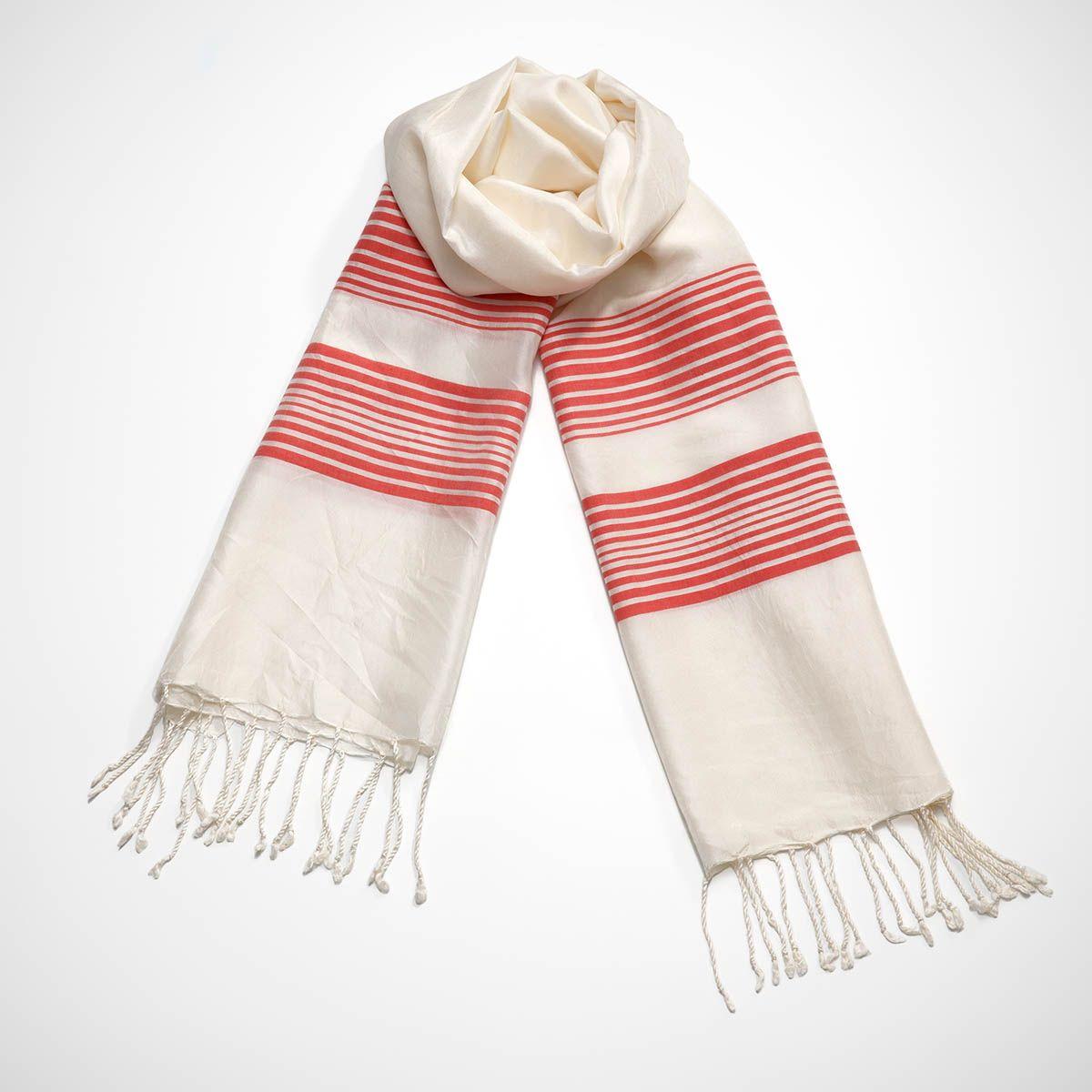 Scarf Silk CZ - Coral Stripes