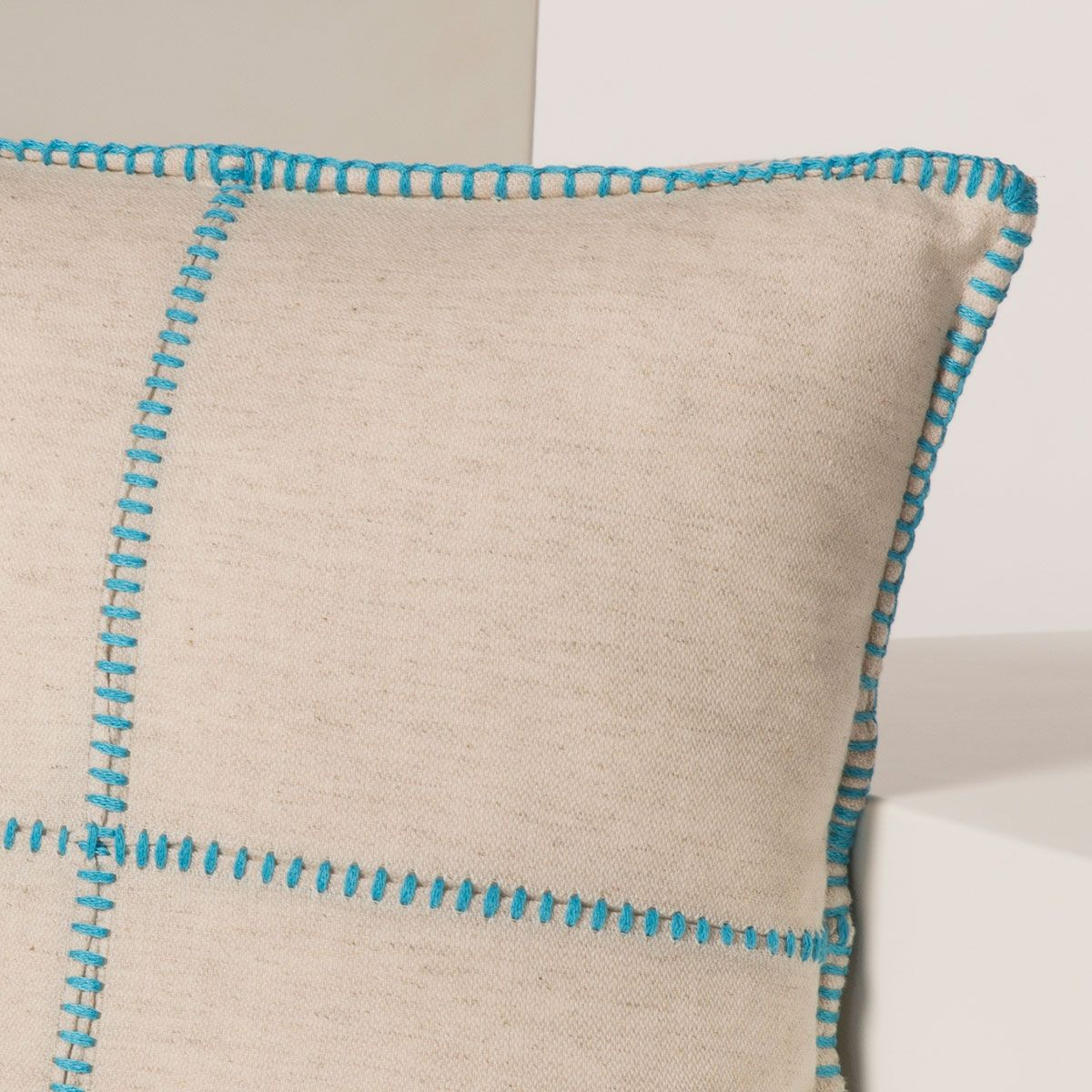 Cushion Cover / Patchwork - Turquoise stitched  40x40 cm