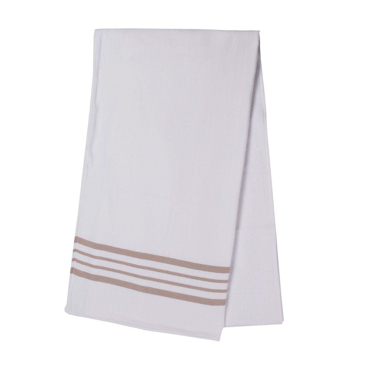 Peshtowel White Sultan - Double Face / Taupe Stripes