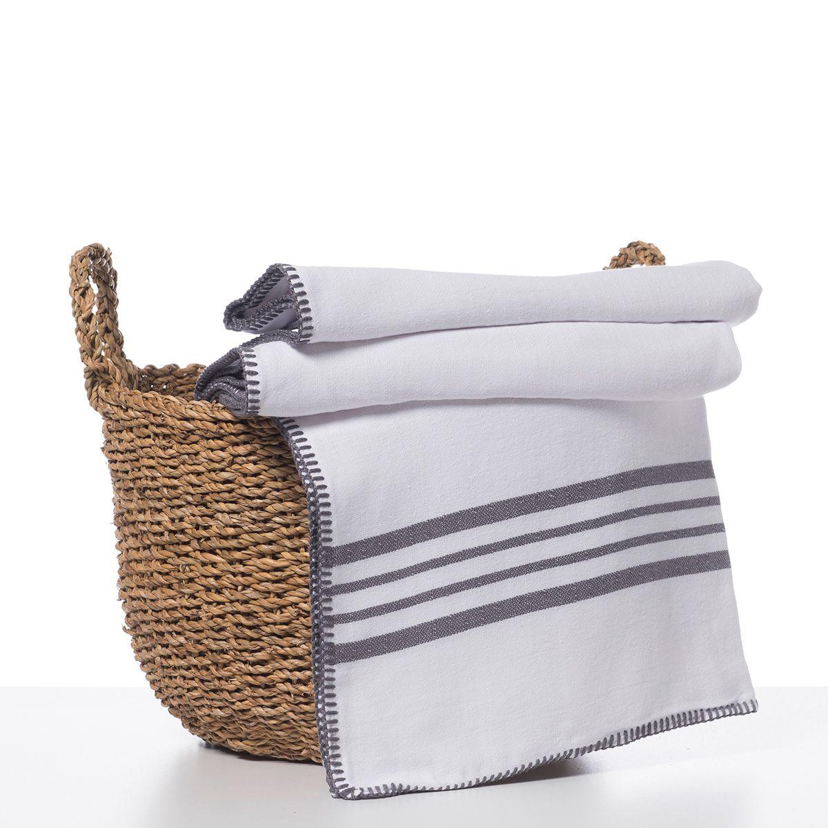 Throw / White Sultan - Double Side / Dark Grey stripes
