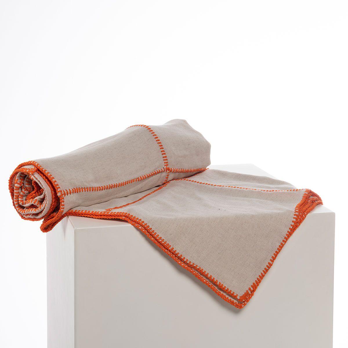 Throw - Nature / Orange stitched (Patchwork)