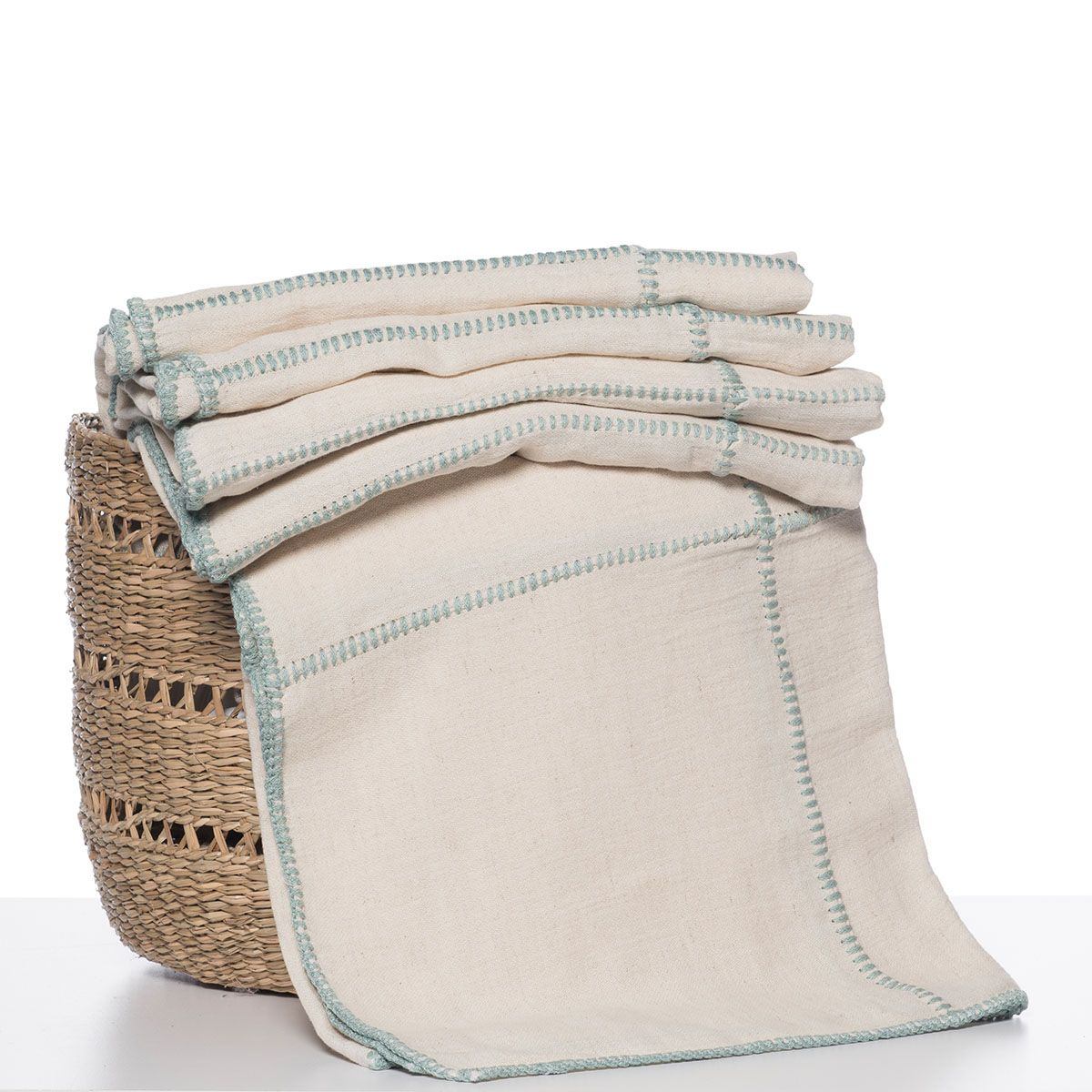 Throw - Nature / Mint stitched (Patchwork)
