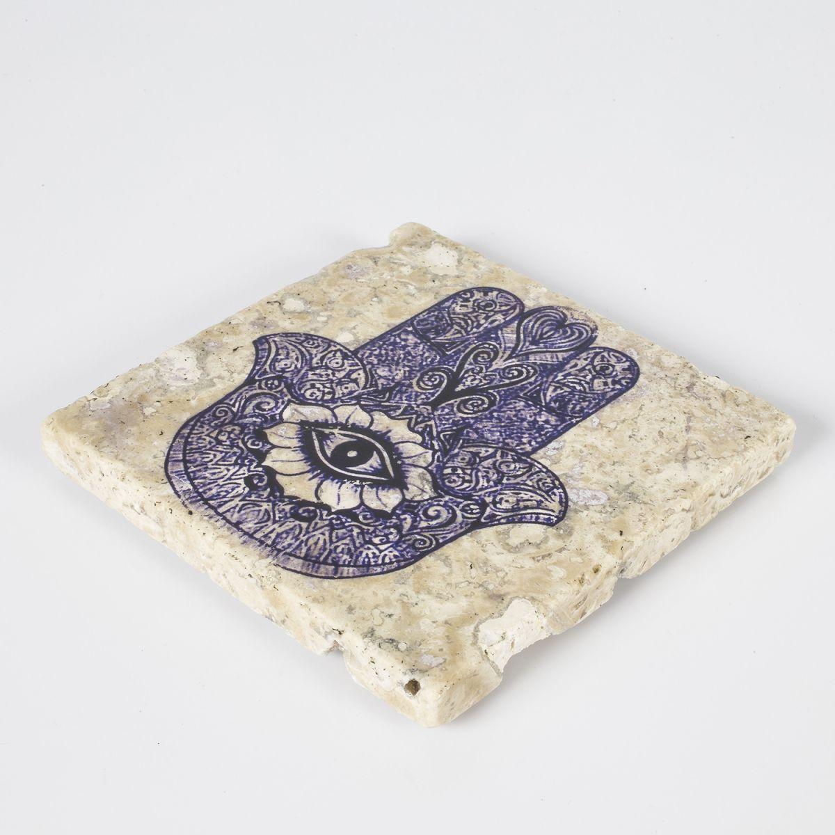 Coaster Travertine - Hand Of Fatima / Blue - (10x10)