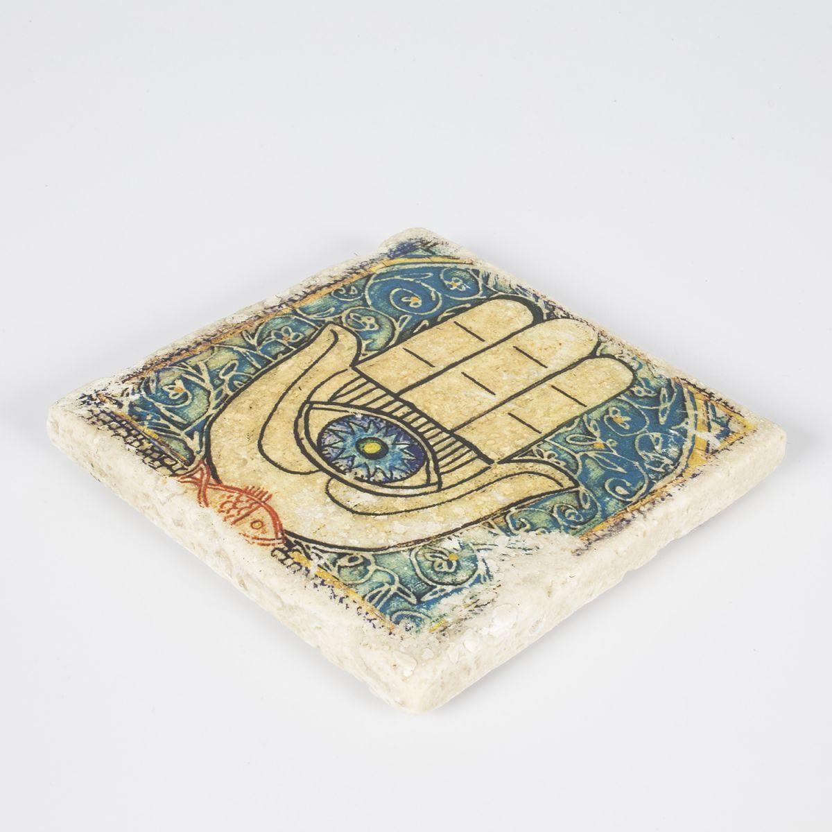 Coaster Travertine - Hand Of Fatima / Colorful 2 (10x10)