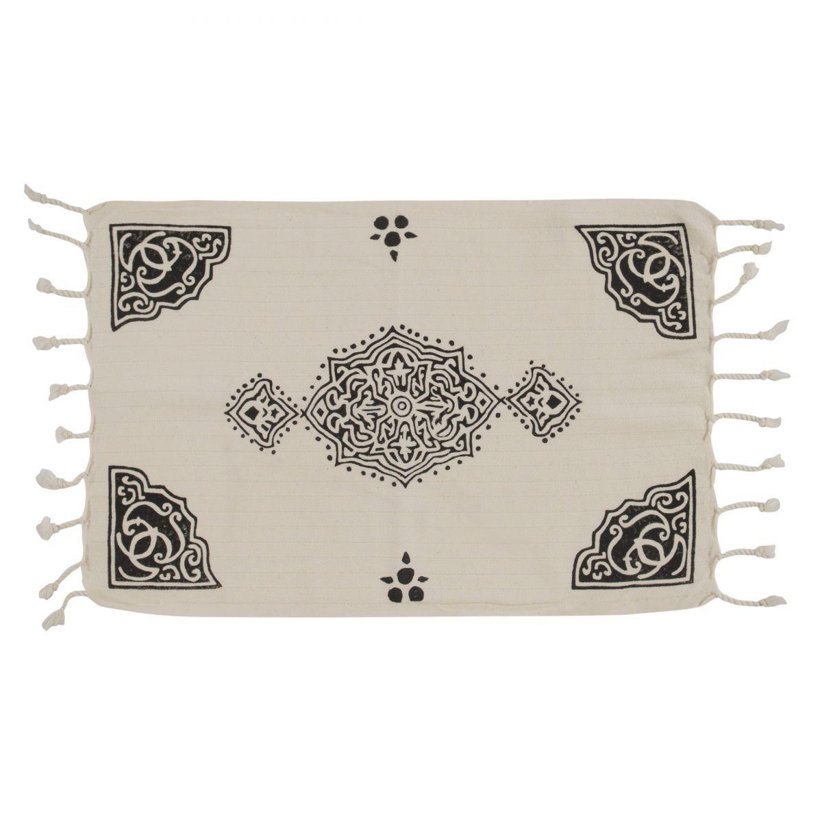 Peshkir Mini Towel - Hand Printed 02 / Black (30x50)