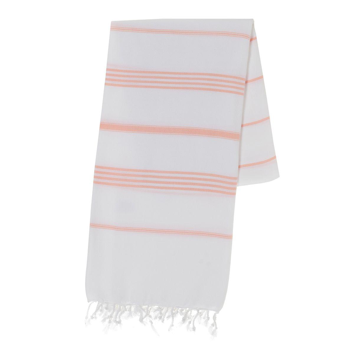 Peshtemal Leyla - White / Melon Stripes