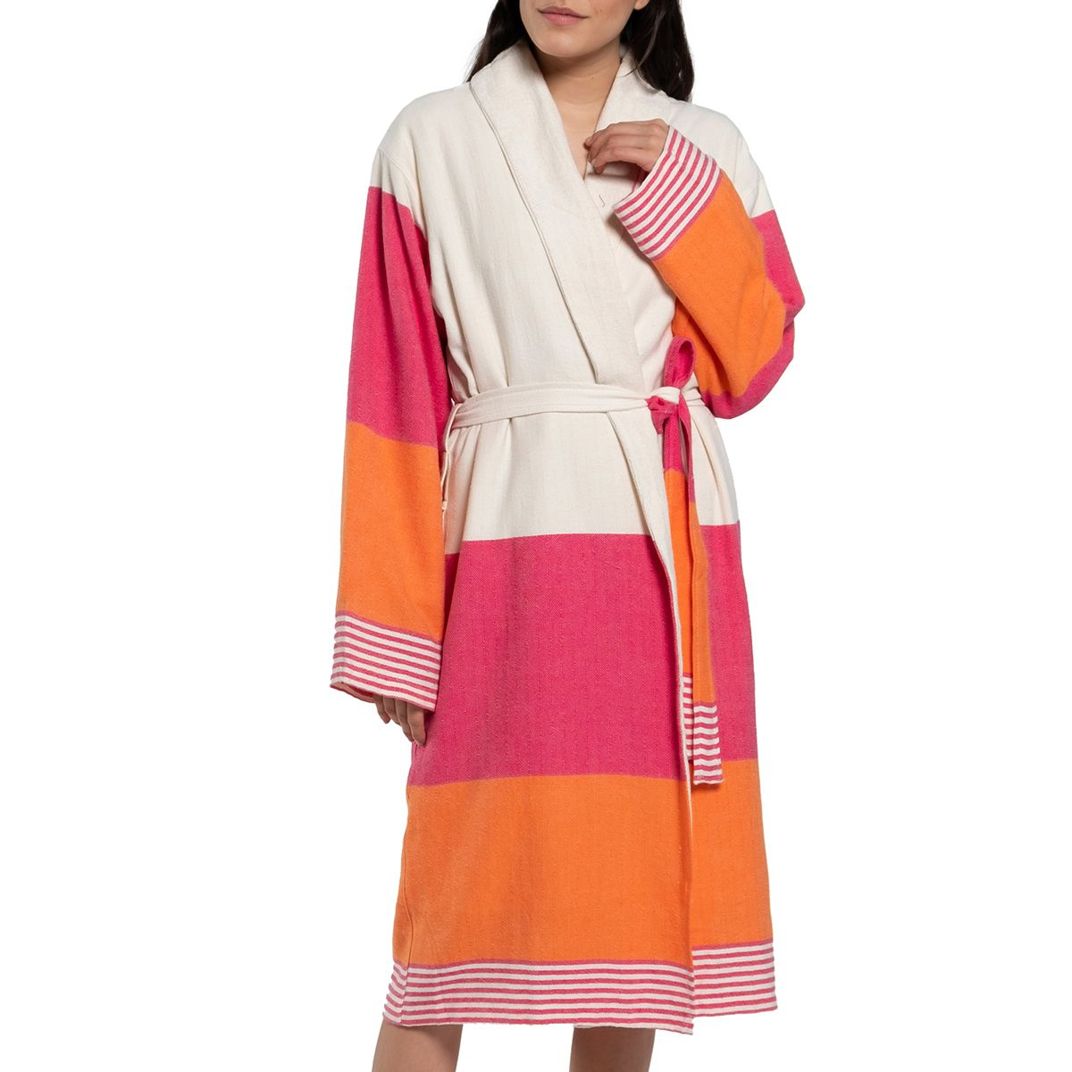 Bathrobe Twin Sultan with towel / Fuchsia - Orange