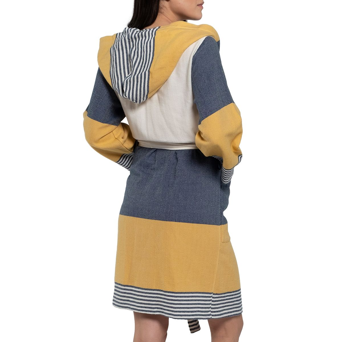 Bathrobe Twin Sultan with hood - Navy / Yellow