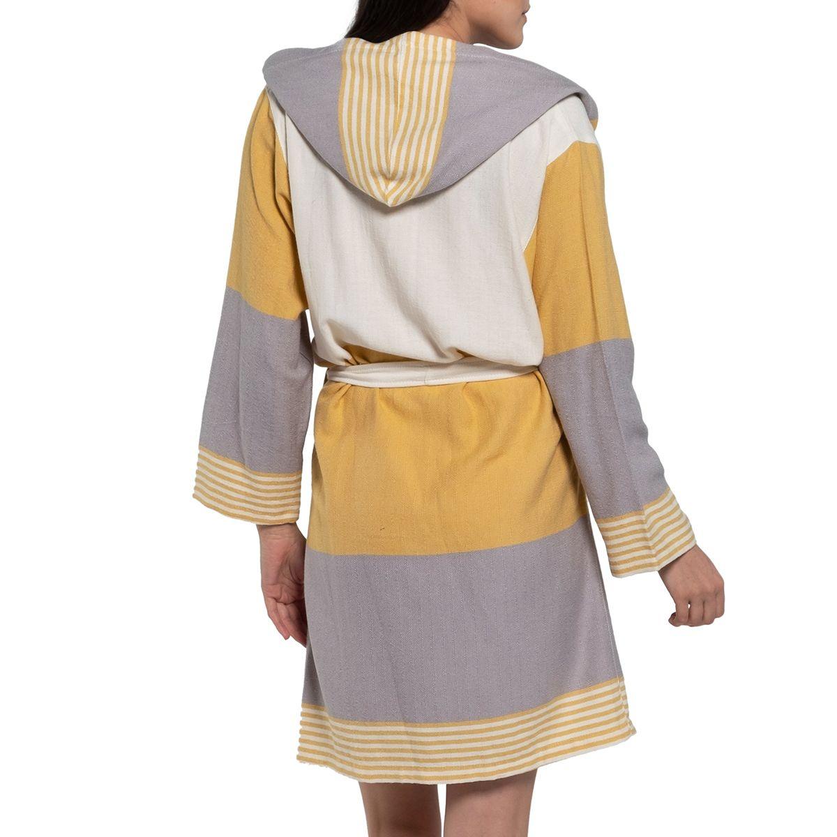 Bathrobe Twin Sultan with hood - Yellow / Light Grey