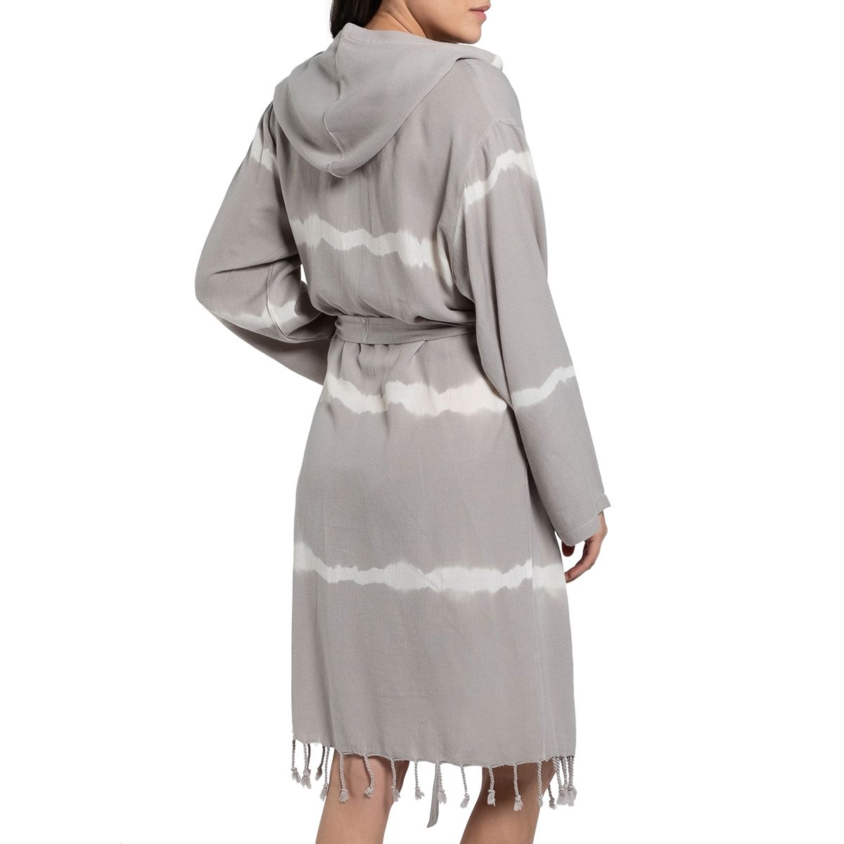 Bathrobe Tie Dye with hood - Taupe Base