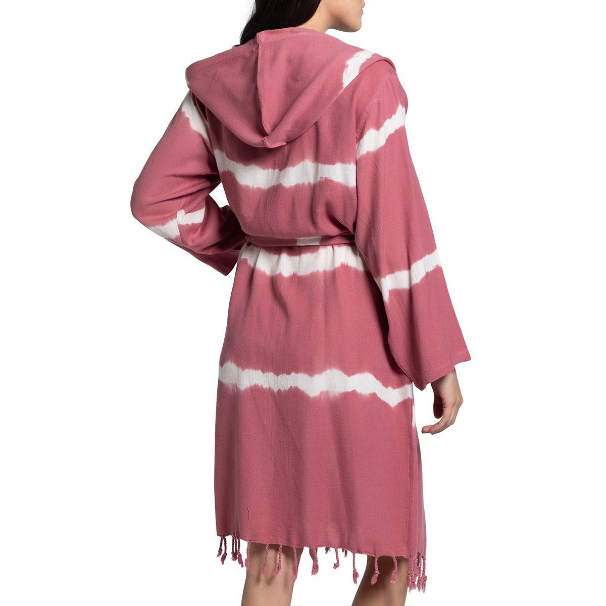 Bathrobe Tie Dye with hood - Dusty Rose Base