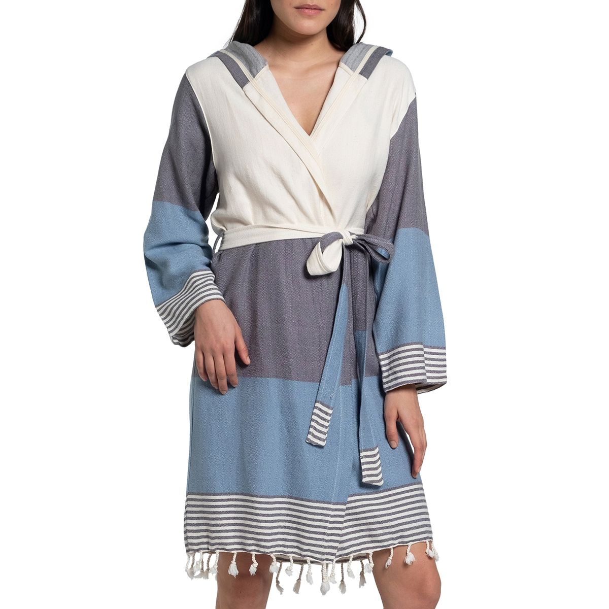Bathrobe Twin Sultan with hood - Dark Grey / Air Blue