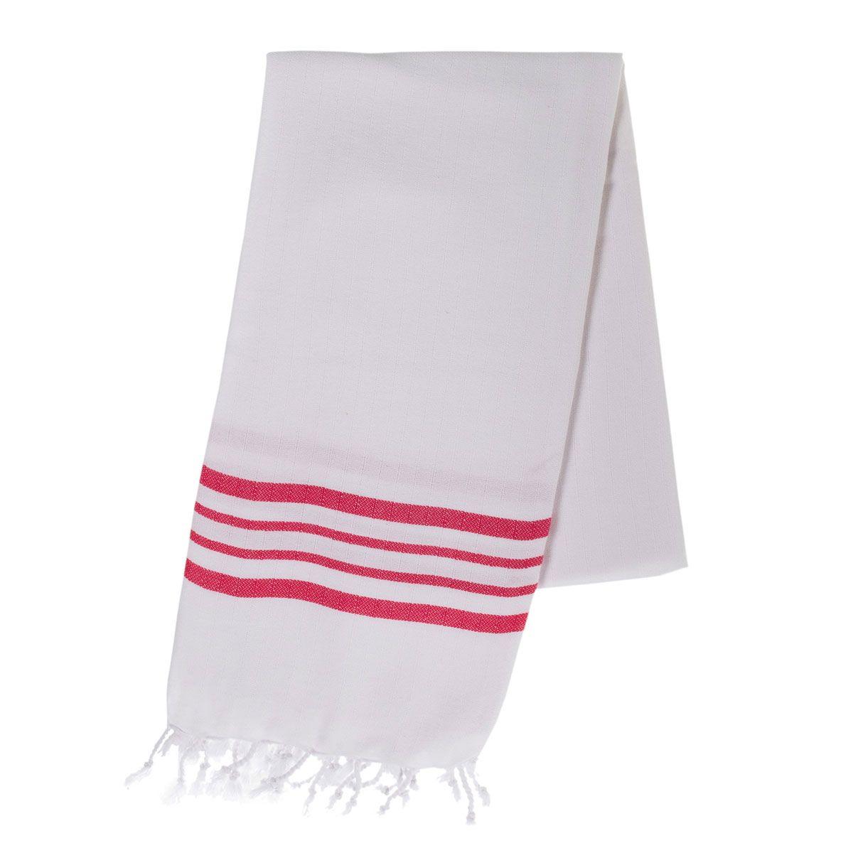 Peshtemal White Sultan / Fucshia Stripes