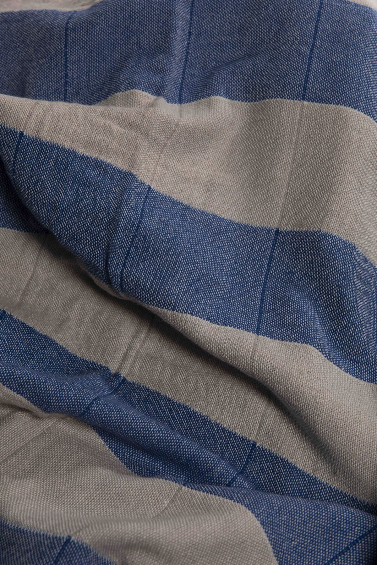 Peştemal Duble - Kum Bej / Royal Mavi