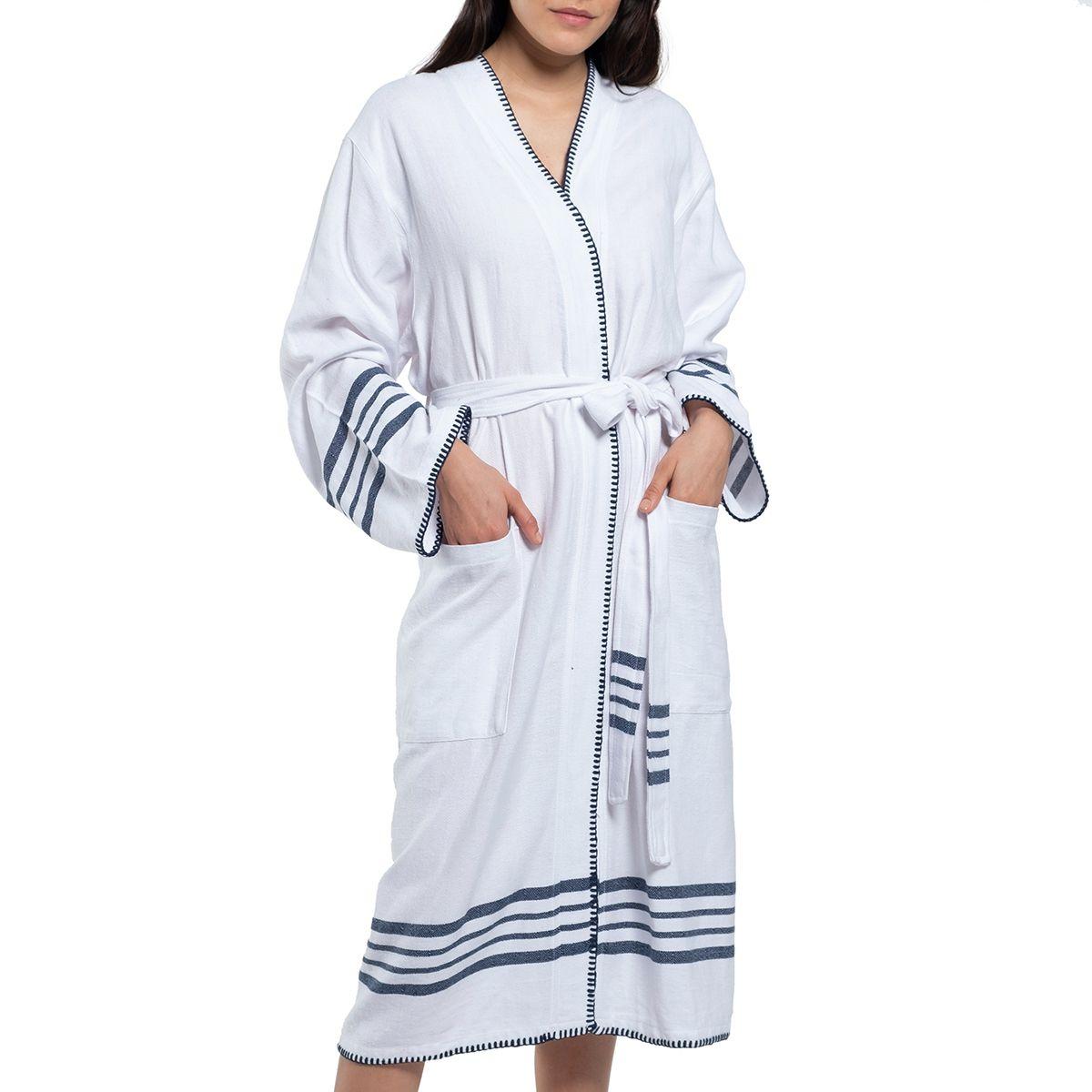 Bathrobe White Sultan - Navy Stripes