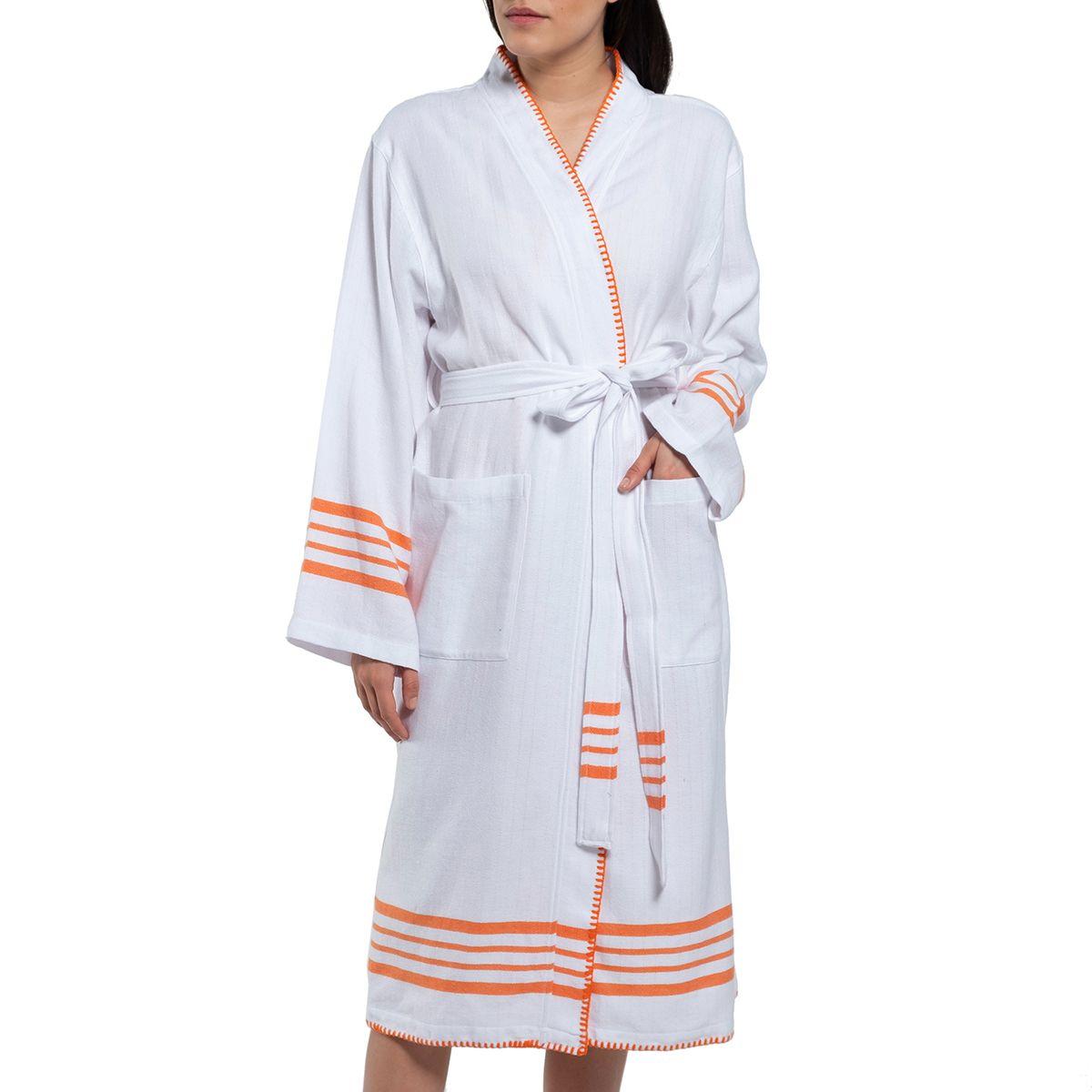 Bathrobe White Sultan - Orange Stripes